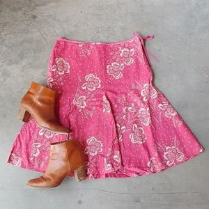 J. Crew Pink Ivory Floral Flounce Skirt size 8